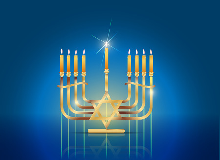 channukah: Happy Hanukkah Concept, Gradient Mesh and Transparency Used Illustration
