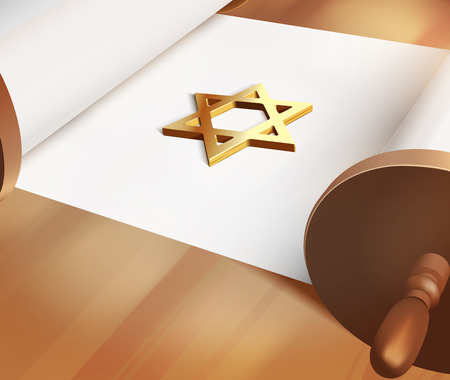 bar mitzvah: Vector David Star On Blank Torah, Eps10,Gradient Mesh and Transparency Used Illustration
