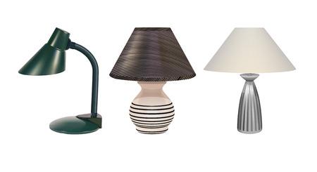 abatjour: Vector Desk lampade su sfondo bianco, Eps10, Gradient Mesh e trasparenza Usato Vettoriali