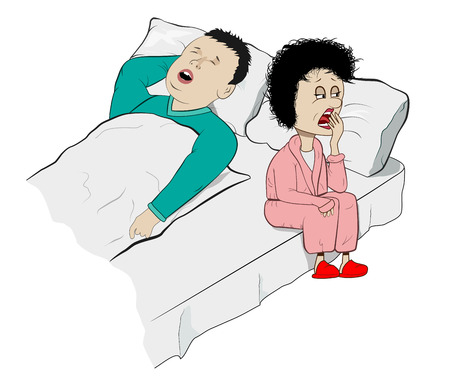snoring: Vector Humorous Illustration of Snoring Husband and Sleepy Wife