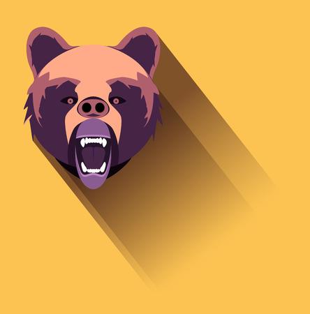 angry bear: Vector enojado del oso Dise�o plana.