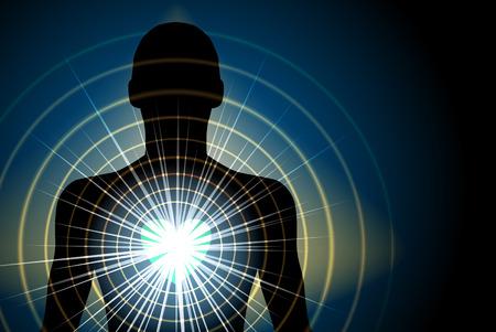 raggi di luce: Silhouette Umano Con energia irradia da Chakra del Cuore, Eps 10 Vector, trasparenza e sfumatura delle maglie