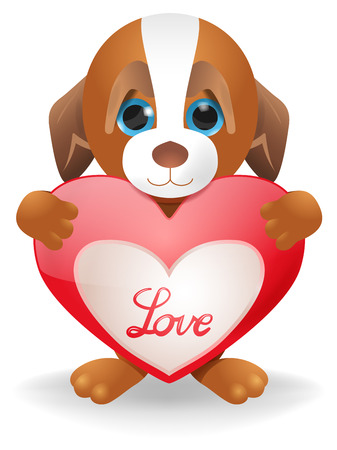 pretty smile: Vector Cartoon Puppy Holding Heart, Vector, Gradient Mesh and Transparency Used Illustration
