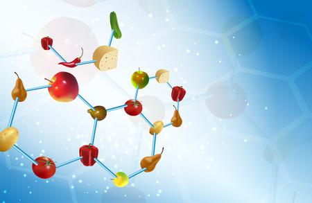 vector  molecular: Vector Molecular Gastronomy Concept Illustration, , Transparency and Gradient Mesh Used Illustration