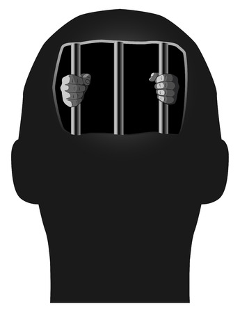 solitary: Vector Concept Illustration of Prisoner in Our Own Mind, Eps 8 Vector Illustration