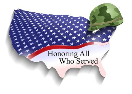bandera estados unidos: Vector Conceptual Día de los Veteranos Ilustración, Eps10 Vector, Transparencia y Gradiente de malla utilizada