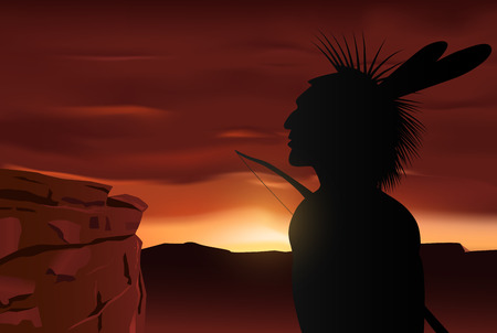 native american indian: Vector Native Indian Silhouette on Sunset Background, Eps10 Vector, Gradient Mesh and Transparency Used