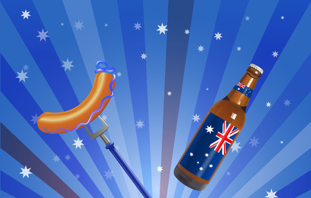 red white and blue: Vector Conceptual Australian Day Illustration, Gradient Mesh and Transparency Used