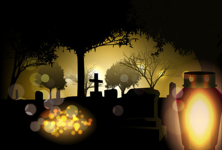 memorial candle: Vector Conceptual All Saints Day Illustration, Eps10 Vector, Gradient Mesh and Transparency Used