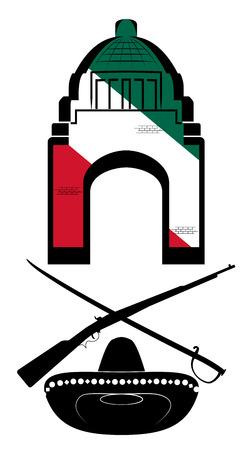 sombrero de charro: Vector Símbolos mexicanos en el fondo blanco, EPS 8 Vector Vectores