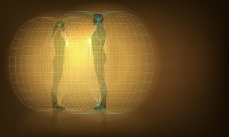 남성과 여성 오오라 상호 작용, EPS10 벡터, 그라디언트 메쉬 및 투명성의 벡터 개념 그림 사용