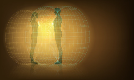 Vector Conceptual Illustration of Man and Woman Auras Interaction, Eps10 vector, Gradient Mesh and Transparency Used