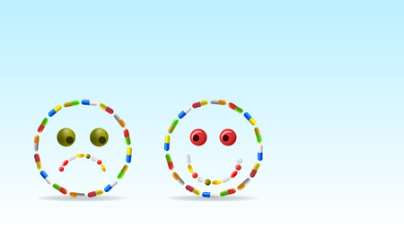 pharmacy pills: Vector Sad and Happy Face Made of Pills