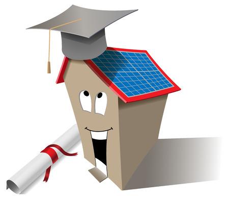 birretes: Vector Casa inteligente concepto con el casquillo de la graduación y diploma, eps10, la transparencia utilizada