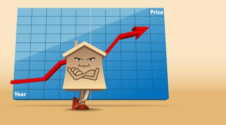 incremento: Vector humorística ilustración del concepto del mercado inmobiliario, Eps10 vector, gradiente de malla y la transparencia utilizada Vectores