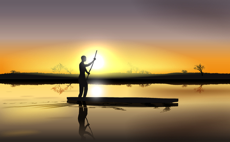 delta: Vector Illustration of Sunset on African River Delta With Man in The Boat,  Vector, Gradient Mesh and Transparency Used