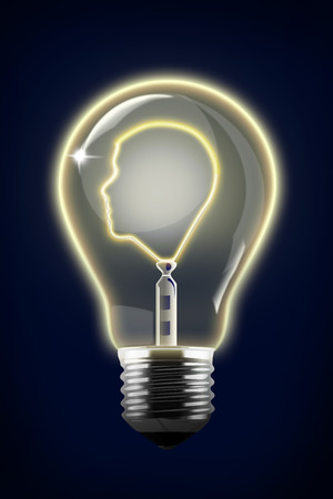 the human face: Concept Illustration of Human Face Inside Lightbulb