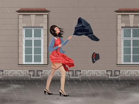 Vector Girl With Broken Umbrella On the Street In Windy Rainy Day