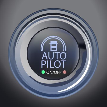 Un'illustrazione di vettore del bottone dell'autopilota, del vettore Eps10, della trasparenza e della maglia di pendenza usate