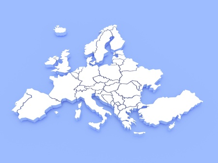 3d rendering of a map of Europe Stock Photo - 10506579