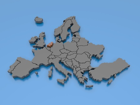 3d rendering of a map of Europe
