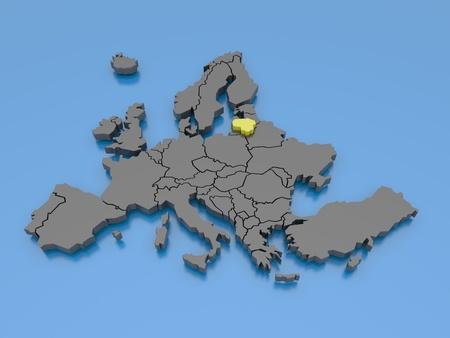 belgie: 3D-weergave van een kaart van Europa Stockfoto