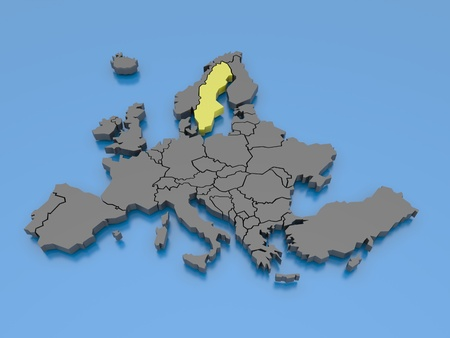 republic of ireland: 3d rendering of a map of Europe
