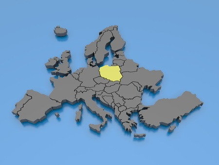 western europe: 3d rendering of a map of Europe
