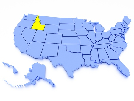 a 3D rendered map of USA - State Idaho photo