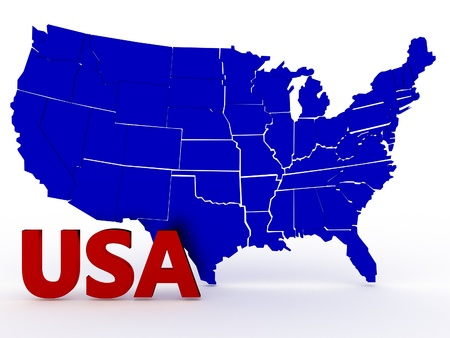 geographical locations: 3D rendered map of USA