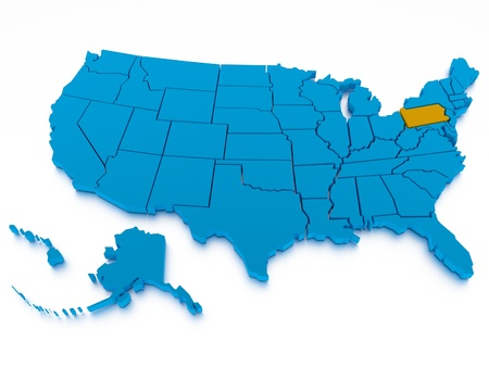 southwest usa: a 3D rendered map of USA