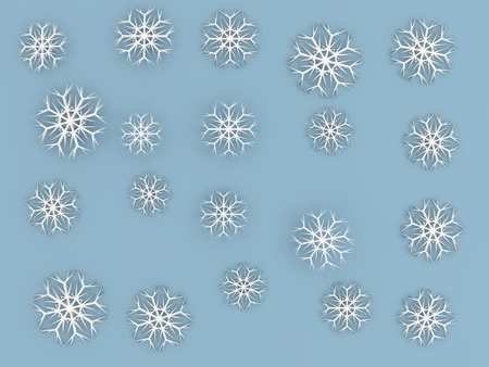 snowflakes background in 3D isolated on blue