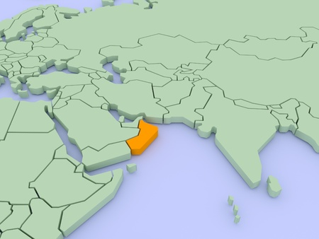 Three-dimensional map of Oman isolated on background. 3d