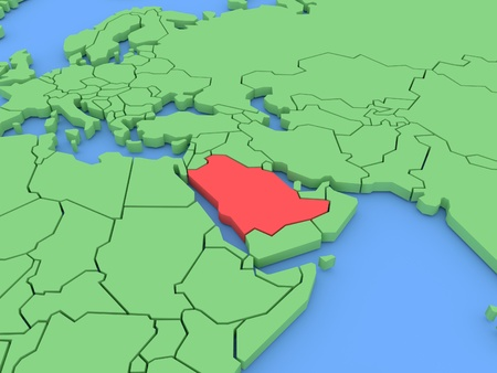 Three-dimensional map of Saudi Arabia isolated on background. 3d