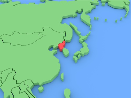 Three-dimensional map of North Korea isolated on background. 3d Stock Photo