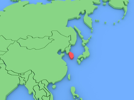 Three-dimensional map of South Korea isolated on background. 3d Stock Photo
