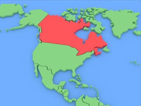 Three-dimensional map of Canada isolated on background. 3d