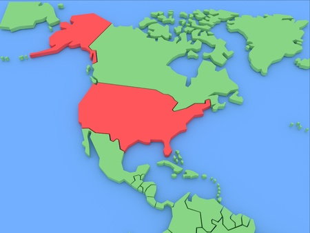 Three-dimensional map of USA isolated on background. 3d