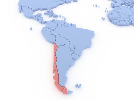 Three-dimensional map of Chile isolated  3d