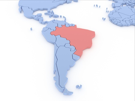 Three-dimensional map of Brasil isolated  3d