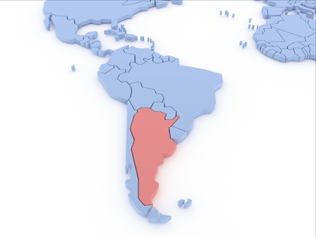 Three-dimensional map of Argentina isolated  3d Stock Photo