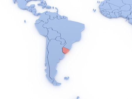 Three-dimensional map of Uruguay isolated  3d