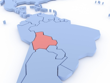 Three-dimensional map of Bolivia isolated  3d