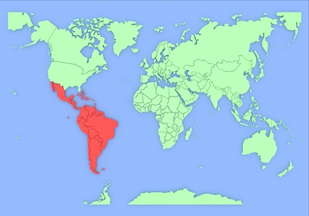 southamerica: Three-dimensional map of South-America isolated  Stock Photo