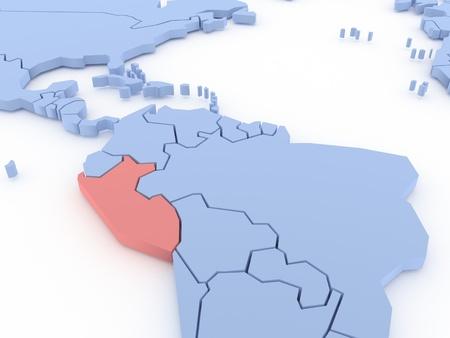 mapa del peru: Mapa tridimensional del Perú aislado 3d Foto de archivo