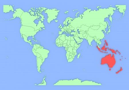 Mappa tridimensionale dell'Australia isolato 3d Archivio Fotografico - 13955261