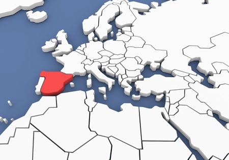 Three-dimensional map of Spain isolated  3d