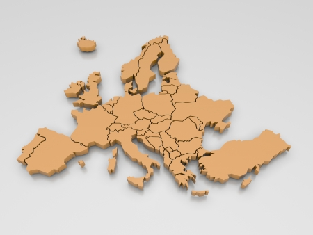 3d rendering of a map of Europe in Orange Stock Photo