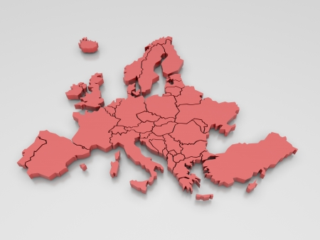 3d rendering of a map of Europe in Red