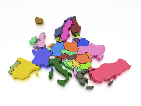 3d rendering of a map of Europe in bright colors photo